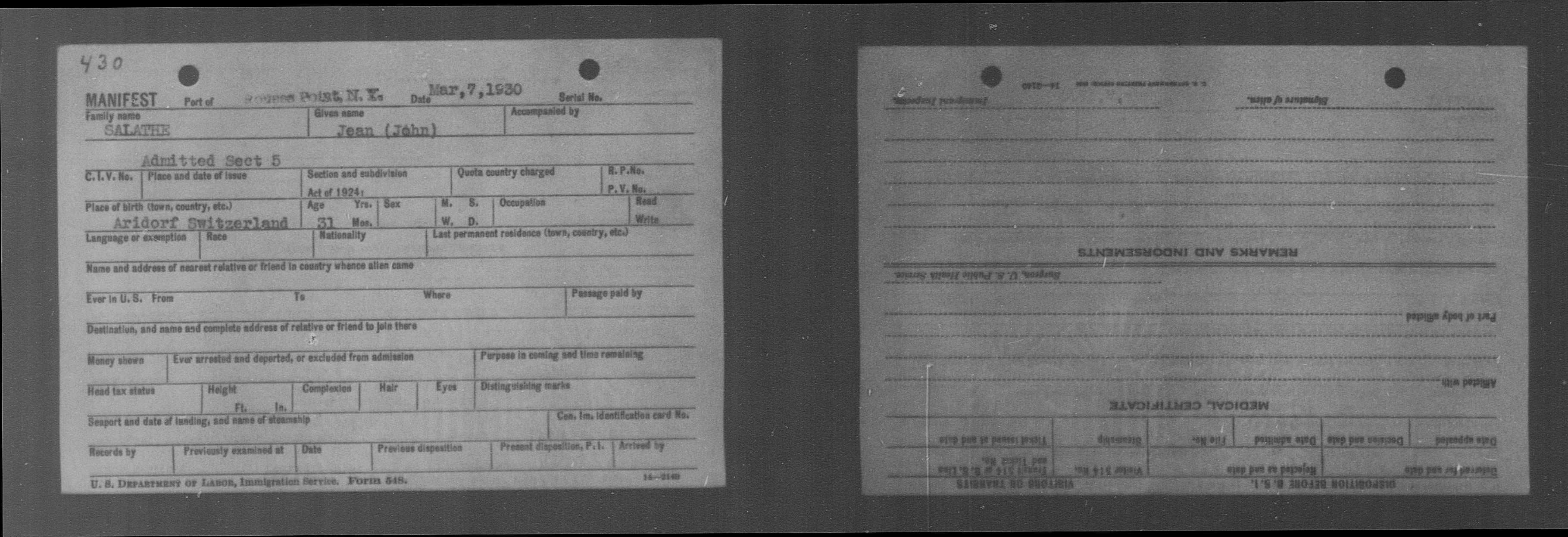 Salathe Immigration 1930